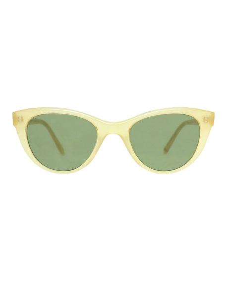 x Claire Vivier Cat-Eye Transparent Acetate Sunglasses, Toffee Green