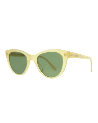 x Claire Vivier Cat-Eye Transparent Acetate Sunglasses, Toffee Green