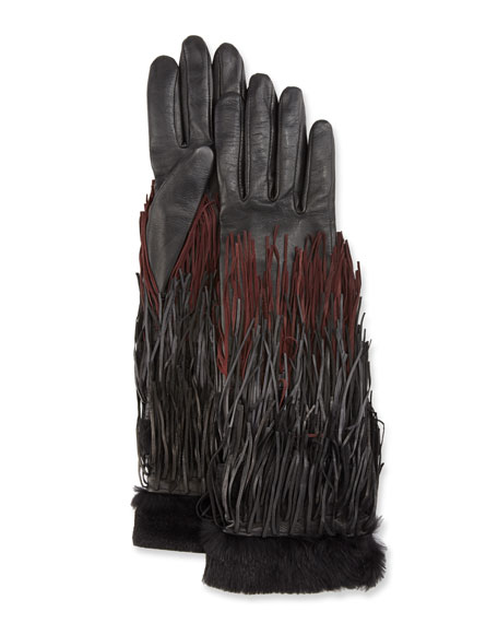 Agnelle Zelda Leather Fringe Gloves, Black