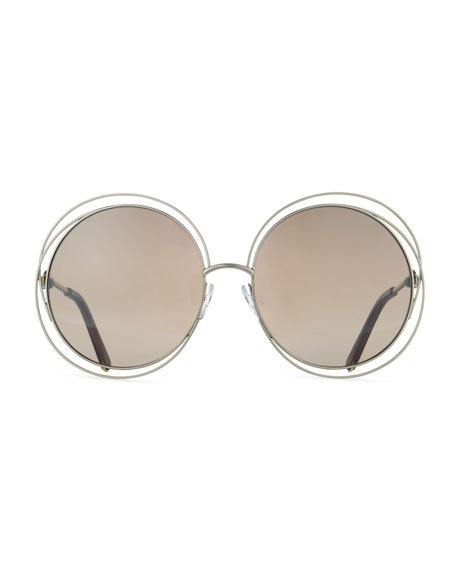 Carlina Trimmed Round Sunglasses, Gold/Dark Brown