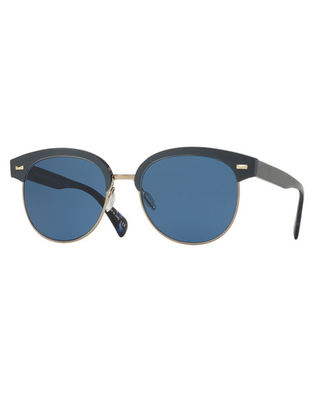 Oliver Peoples Shaelie Monochromatic Semi-Rimless Sunglasses, Navy