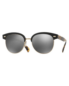 Rimless Glasses Benefits : Oliver Peoples Shaelie Mirrored Semi-Rimless Sunglasses, Black