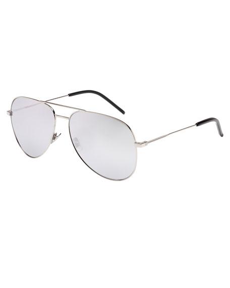 Mirrored Metal Aviator Sunglasses, Silver