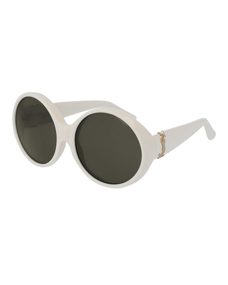 Saint Laurent Round Chunky Monochromatic Sunglasses Ivory