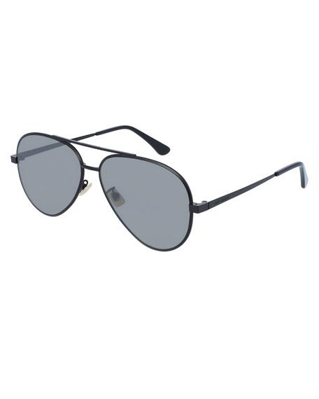 Mirrored Metal Aviator Sunglasses, Black