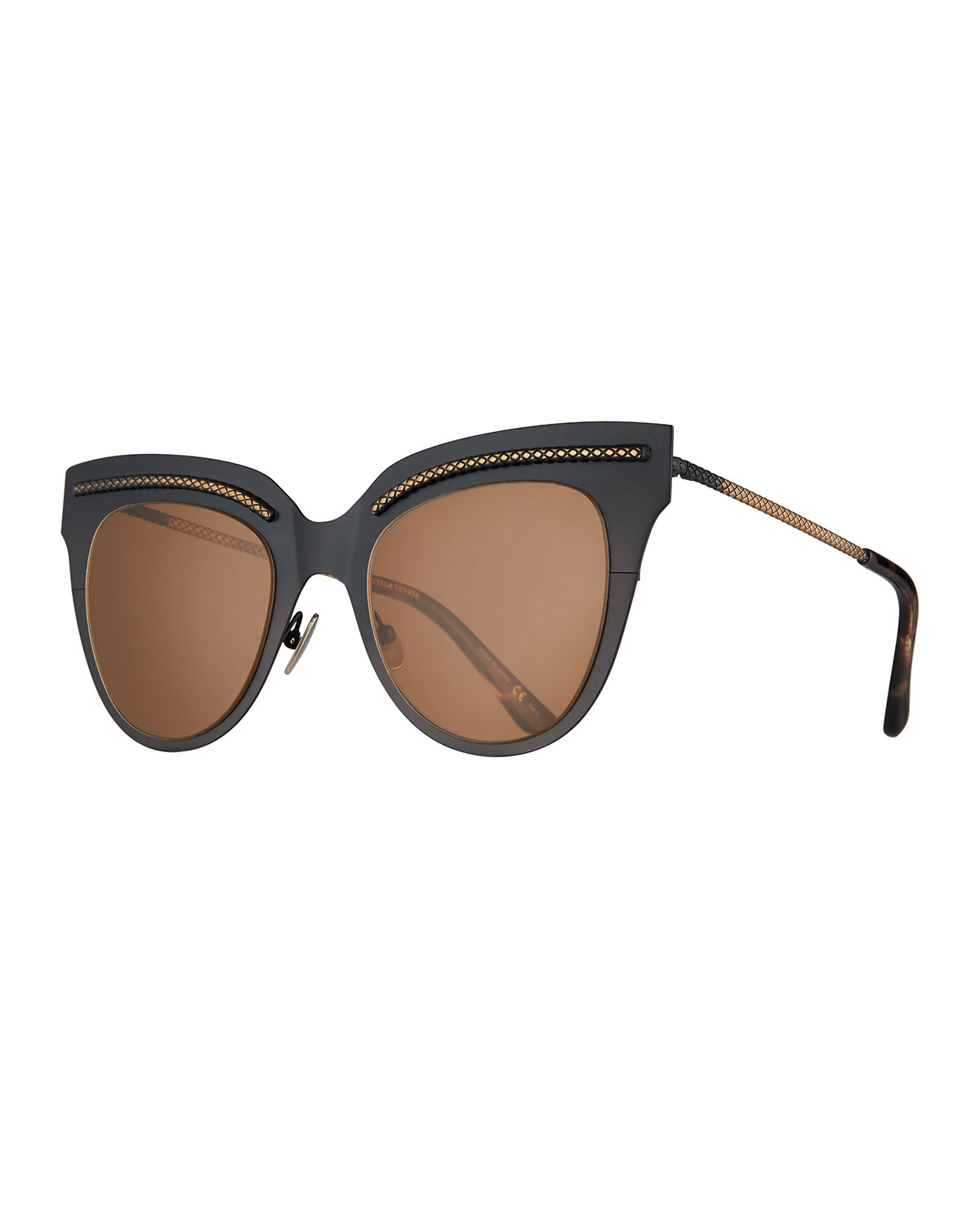 4e155b8b5 Bottega Veneta Metal Intrecciato Cat-Eye Sunglasses, Black | Neiman ...