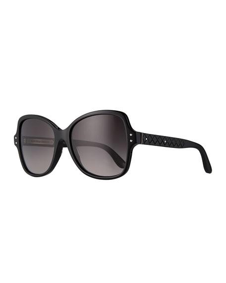 Bottega Veneta Acetate Butterfly Sunglasses, Black