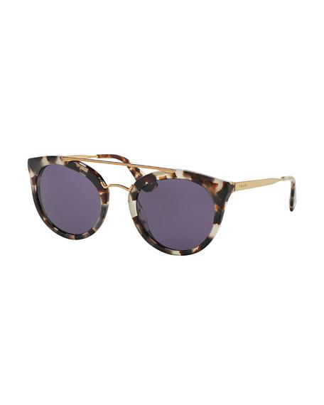 Prada Monochromatic Double-Bridge Cat-Eye Sunglasses, White Tortoise