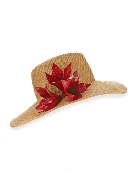Eugenia Kim Cassidy Toyo-Blend Wide-Brim Fedora Hat, Camel