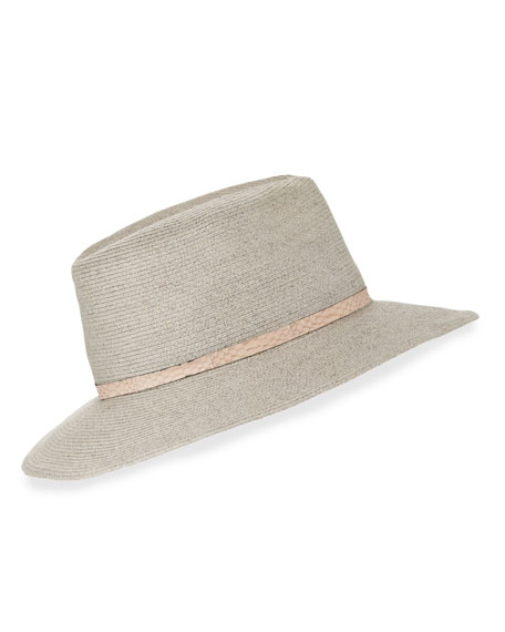 Courtney Snake-Trim Fedora Hat, Light Gray