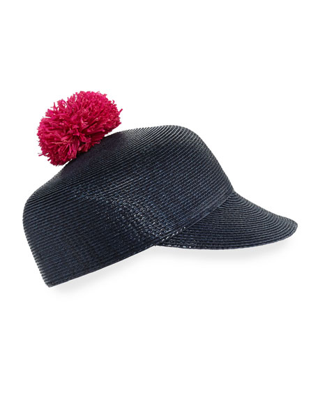 Quinn Lacquered Pompom Cap, Navy