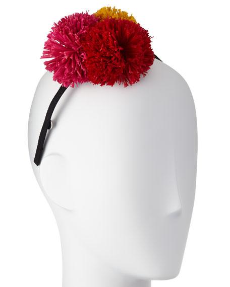 Lorelei Grosgrain Pompom Headband, Black