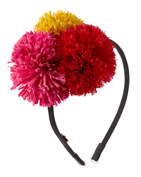 Lorelei Grosgrain Pompom Headband, Black