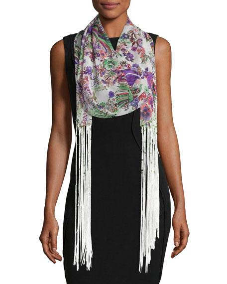 Floral Silk Fringe Scarf, Pink/White