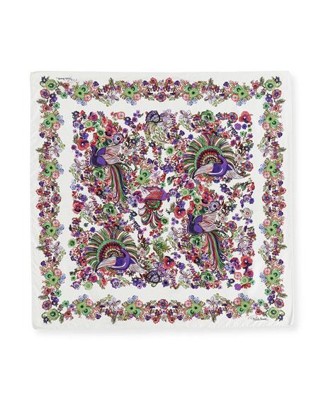 Floral Silk Satin Square Scarf, Pink/White
