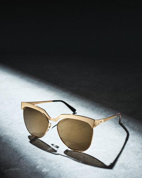 Classic Mirrored Cat-Eye Sunglasses