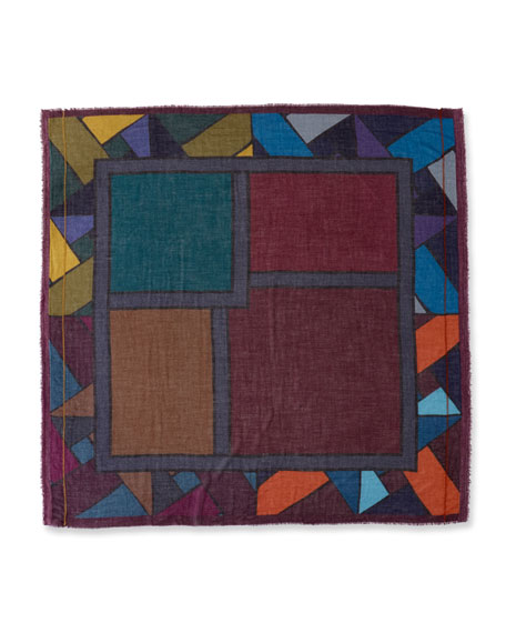 Random Colorblock Cashmere-Blend Scarf, Gray/Blue