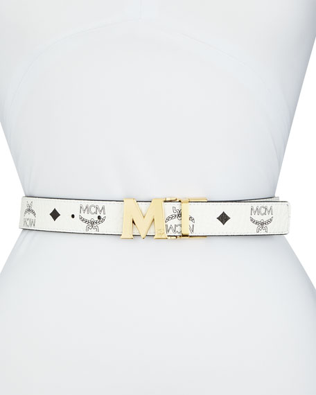 MCM Reversible Coated Canvas Logo Belt, White