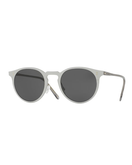 Oliver Peoples Elias Round Monochromatic Sunglasses, Gray