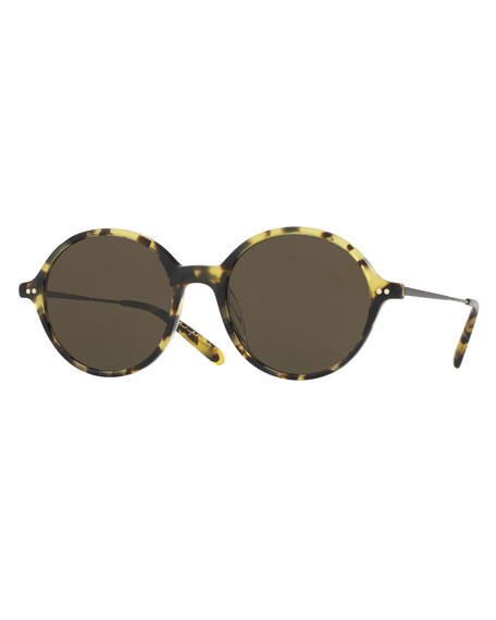 Oliver Peoples Corby Round Monochromatic Sunglasses, Brown