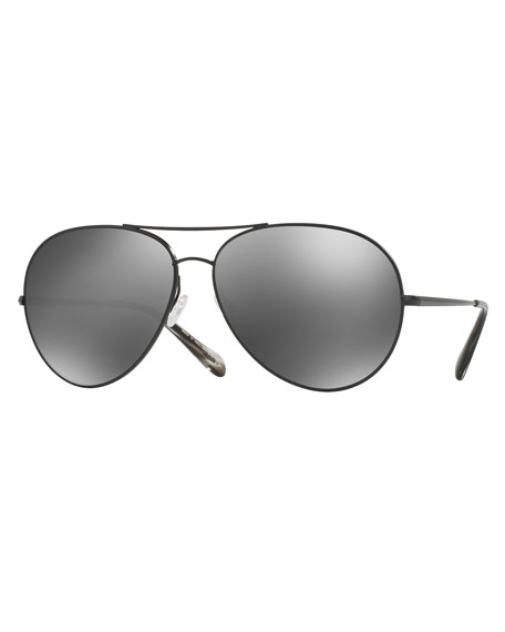 Oliver Peoples Sayer Mirrored Aviator Sunglasses, Black