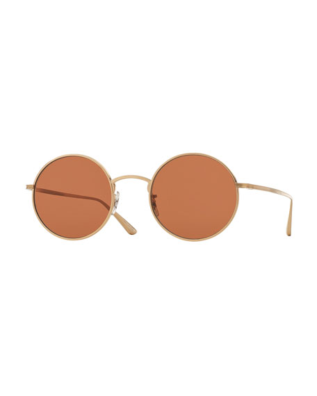 After Midnight Round Sunglasses, Gold/Persimmon