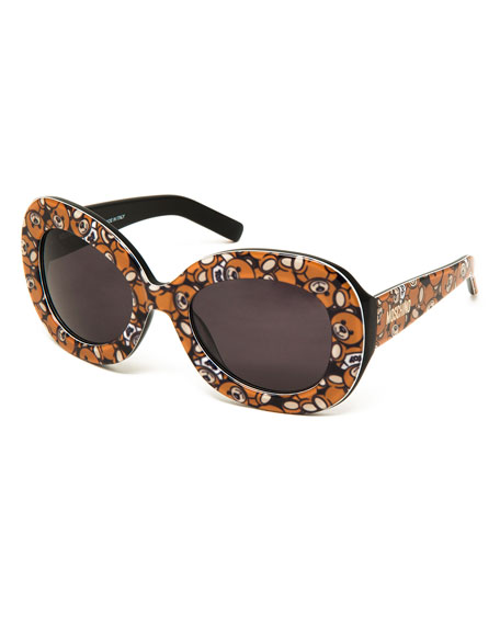 Chunky Oval Teddy Sunglasses, Brown