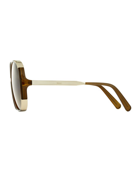 Myrte Capped Square Sunglasses, Neutral