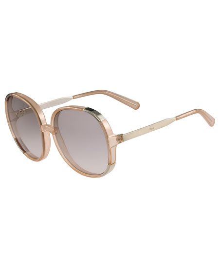 Chloe Myrte Capped Square Sunglasses, Neutral