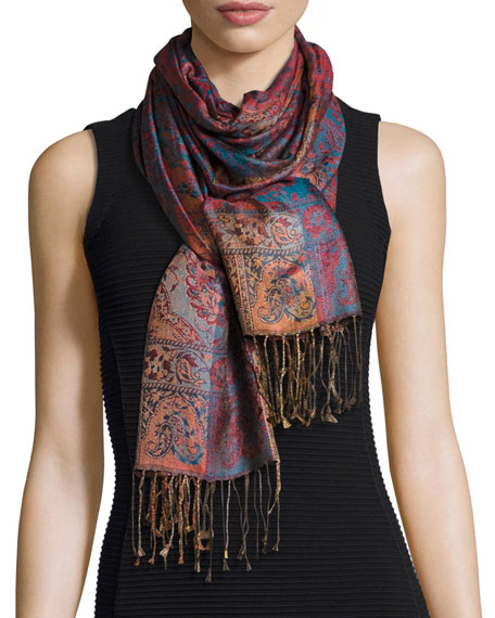 Mandala Stripe & Paisley Silk Stole, Blue/Red