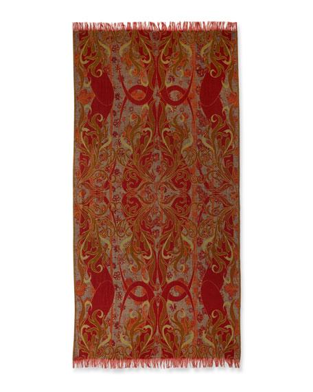 Midnight Garden Wool Shawl, Orange/Green