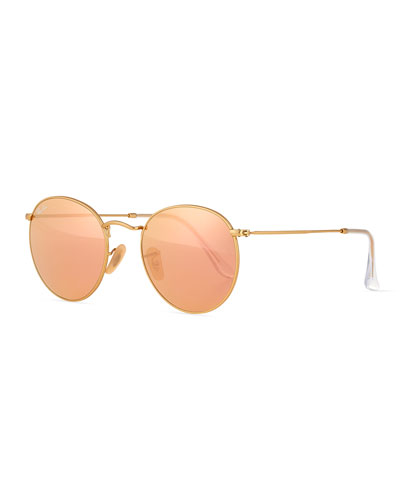 ray ban round sunglasses look alike  mirrored round metal sunglasses, gold/pink
