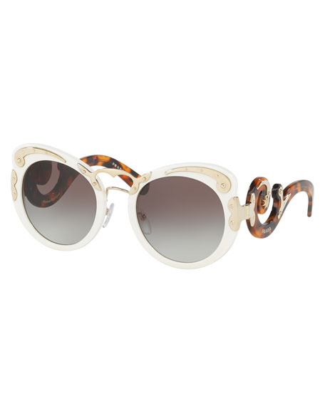 Prada Gradient Butterfly Scroll Sunglasses, Ivory