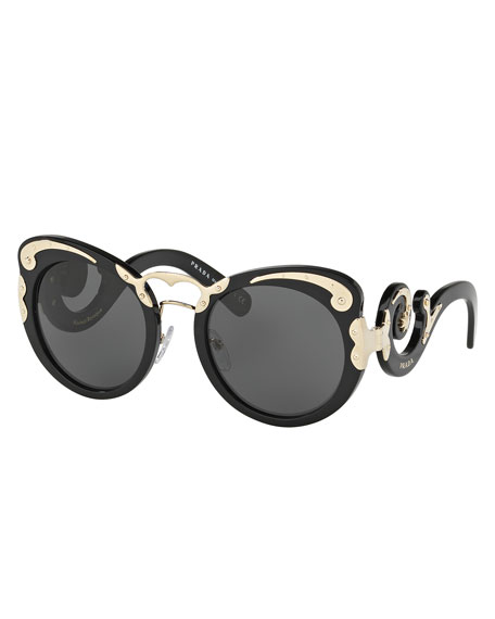 Prada Monochromatic Butterfly Scroll Sunglasses, Black