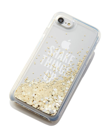 shake things up iPhone 7 case, clear/gold glitter