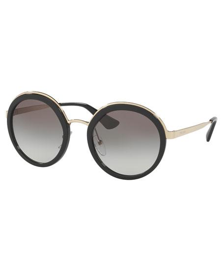 Trimmed Gradient Round Sunglasses