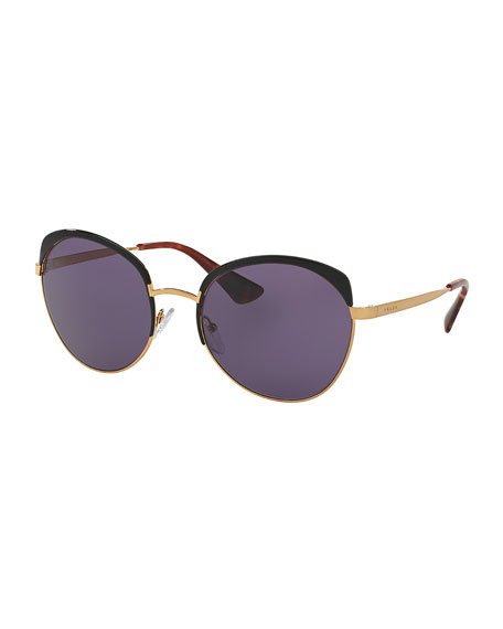 Prada Monochromatic Inlay Butterfly Sunglasses, Black