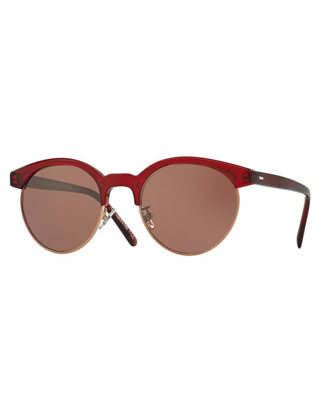 Oliver Peoples Ezelle Monochromatic Semi-Rimless Sunglasses, Red