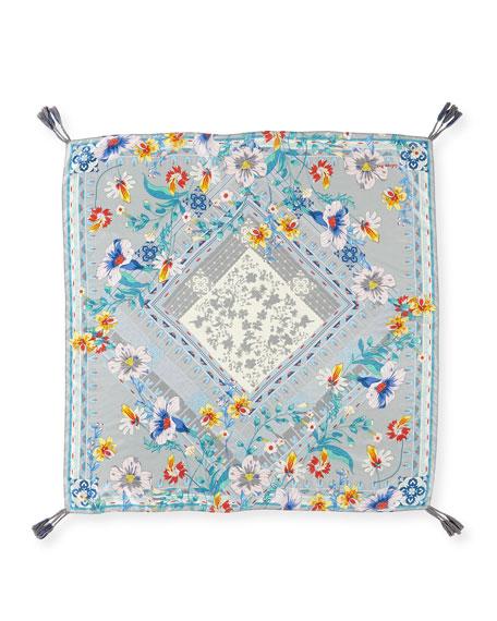 Johnny Was Ellyna Multi color Blue Tassel Scarf Floral Flower Silk New