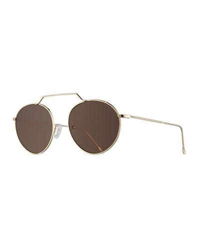Wynwood III Round Monochromatic Sunglasses, Gold