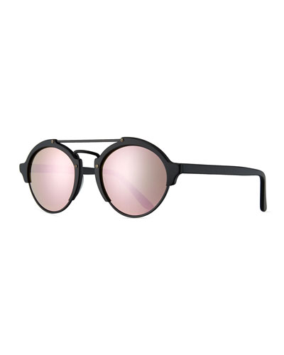 Milan II Mirrored Round Sunglasses, Black/Pink