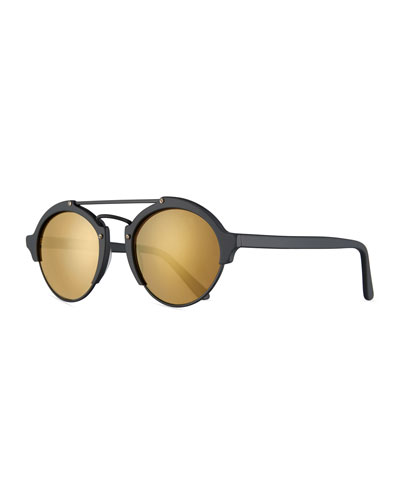 Milan II Mirrored Round Sunglasses, Black/Bronze