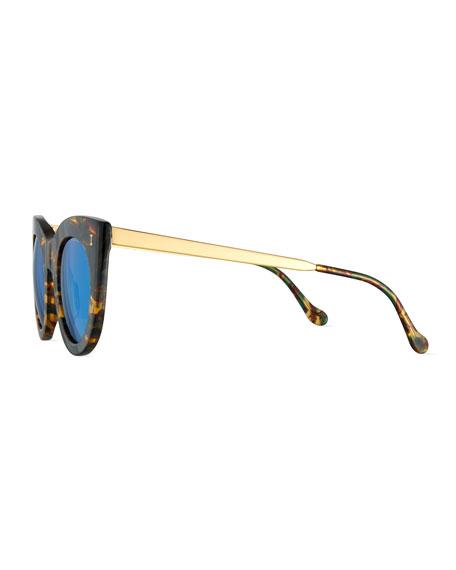 Boca II Mirrored Cat-Eye Sunglasses, Forest/Blue