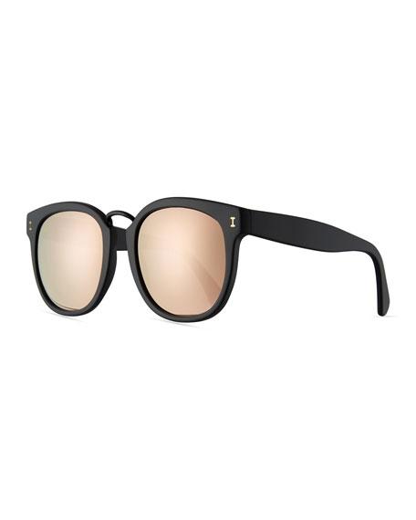 Illesteva Sardinia Mirrored Square Sunglasses, Black