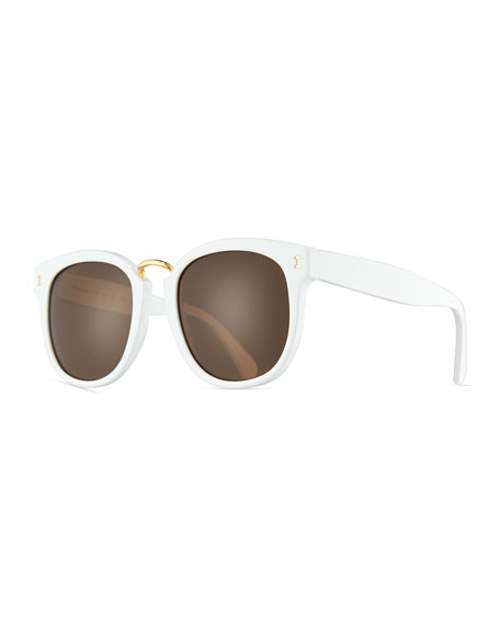 Illesteva Sardinia Monochromatic Square Sunglasses, White/Brown