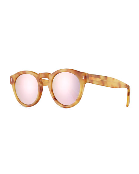 Illesteva Leonard Mirrored Round Sunglasses, Blonde Havana/Rose