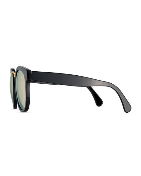 Sardinia Mirrored Square Sunglasses, Black/Gold