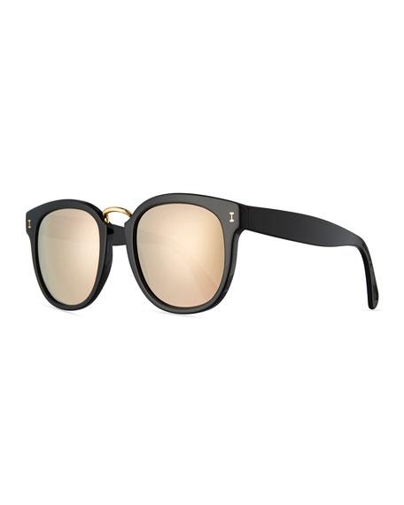 Illesteva Sardinia Mirrored Square Sunglasses, Black/Gold