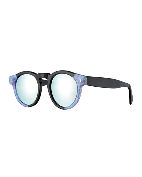 Leonard Mirrored Round Two-Tone Sunglasses, Blue/Silver