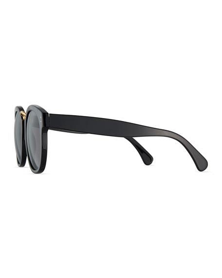 Sardinia Monochromatic Square Sunglasses, Black